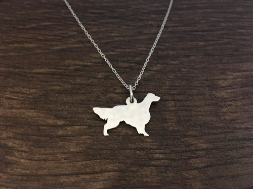 English setter dog  necklace pendant sterling silver handmade